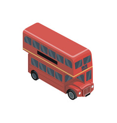 Red double decker bus isometric 3d element vector