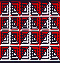 red tribal triangle seamless pattern vector image