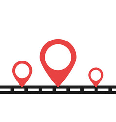 road with red pins in flat design pin icons vector image