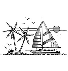 sailing yacht and island in sea sketch vector image