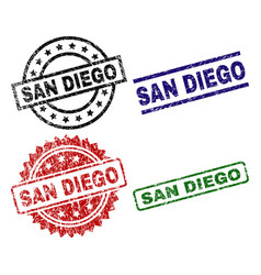 scratched textured san diego stamp seals vector image