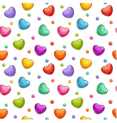 Seamless pattern with colorful glossy hearts vector