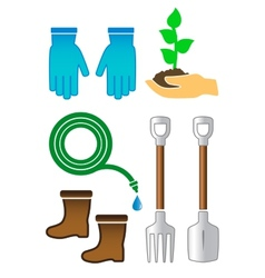 set gardening color tools vector image