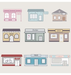 Set of cute buildings for infographics vector image