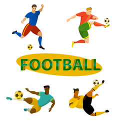 set of football soccer players vector image