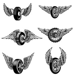 Set winged car tires on white background vector