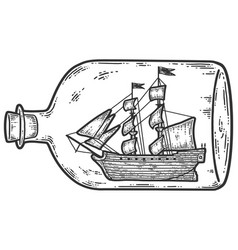 Ship in a bottle sketch scratch board imitation vector