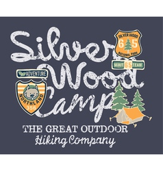 Silver wood camp hiking company vector