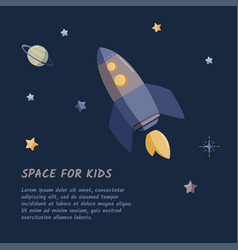 Single rocket and starry sky in a open space flat vector