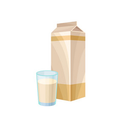 soy milk in a carton pack healthy diet food vector image