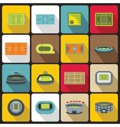 Sport stadium icons set flat style vector image