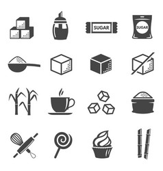 sugar and confectionery black glyph icons vector image