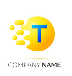 T letter splash yellow dots and circle bubble vector