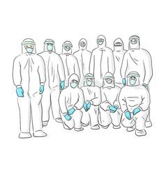 Team doctor in ppe suit sketch vector
