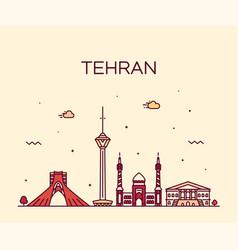 Tehran skyline iran trendy linear style vector