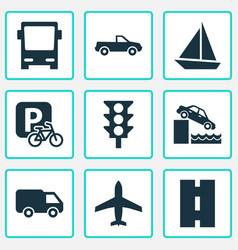 transport icons set with yacht aircraft parking vector image