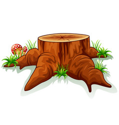 tree stump and mushroom vector image