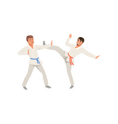 Two young men in kimonos training karate blows vector