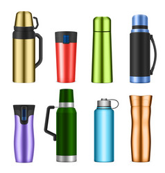 vacuum flask color realistic set vector image