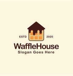 waffle with basic house shape cartoon logo vector image