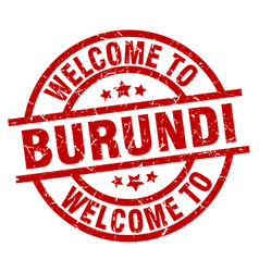 Welcome to burundi red stamp vector
