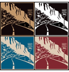 Winding mountain road vector