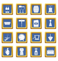 wine icons set blue vector image