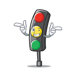 Wink traffic light character cartoon vector