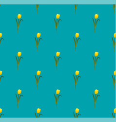 Yellow tulips on blue teal background vector