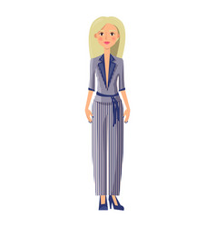 Young blonde girl in elegant summer striped suit vector