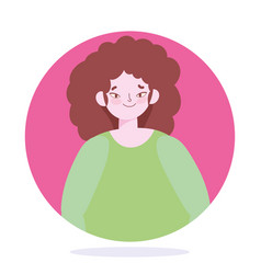 young woman cartoon character female design vector image