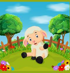 cartoon happy sheep smile in the farm vector image