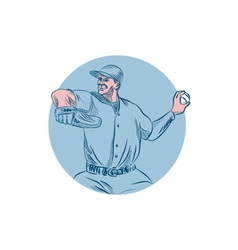 Baseball Pitcher Throwing Ball Circle Drawing vector image