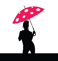 girl holding red umbrella silhouette vector image vector image
