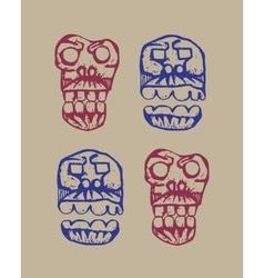 human skulls sketch vector image