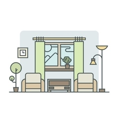 Living room linear style vector image vector image