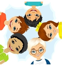 multi ethnic group of children forming a circle vector image