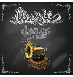 Retro vintage gramophone poster vector image