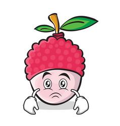 sad face lychee cartoon character style vector image