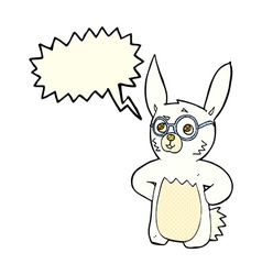 cartoon rabbit wearing spectacles with speech vector image vector image