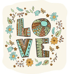 Color flowers and letters - love vector image