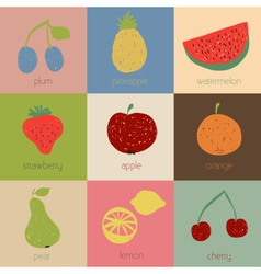 Doodle fruit icons in retro colors vector image vector image