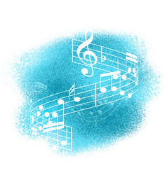 music notes on watercolour background vector image vector image