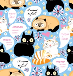 Pattern of funny cats vector