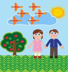 Two children vector