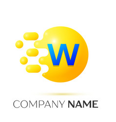 W letter splash yellow dots and circle bubble vector