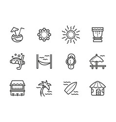 beach leisure black line icons set vector image