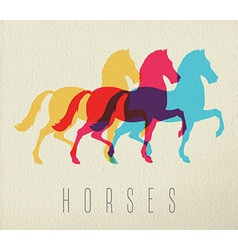 Colorful horse silhouette on paper background vector image