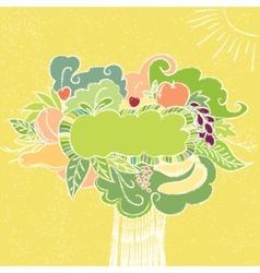Hand drawn fruit frame vector image