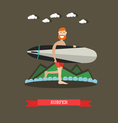 surfer with surfboard in flat vector image